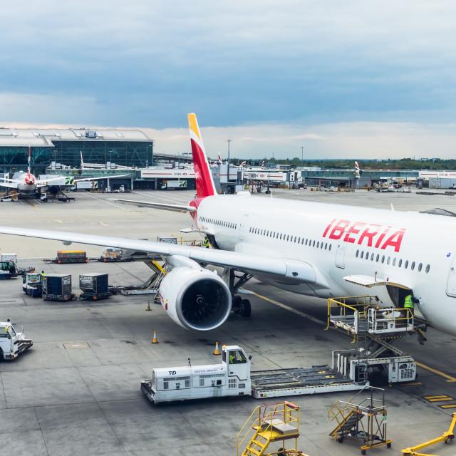 """""""Airbus A350 Iberia Paco de Lucía EC-MYX"""" stock image"""