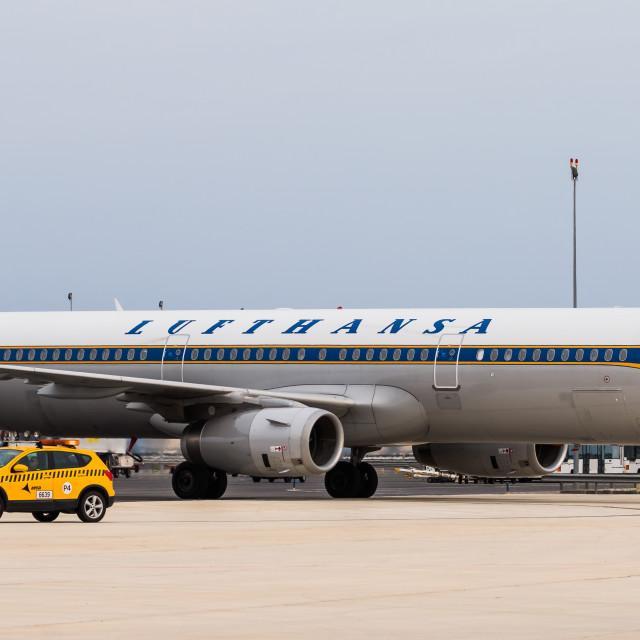 """Airbus A321 Lufthansa Retro D-AIDV"" stock image"