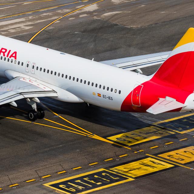 """""""Airbus A320 Iberia Costa Brava EC-IEG"""" stock image"""