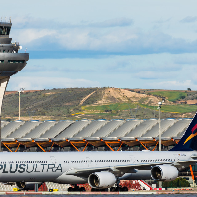 """""""Airbus A340 Plus Ultra Virgen del Quinche EC-NFQ"""" stock image"""