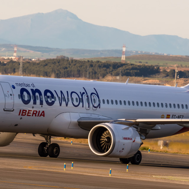 """Airbus A320neo Iberia Oneworld Virgen de Loreto EC-NEZ"" stock image"