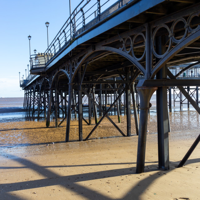 """Pier with sand and water"" stock image"