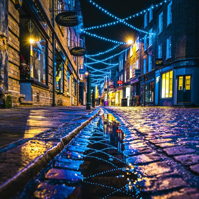 """Night reflections from Green Street, Cambridge UK."" stock image"