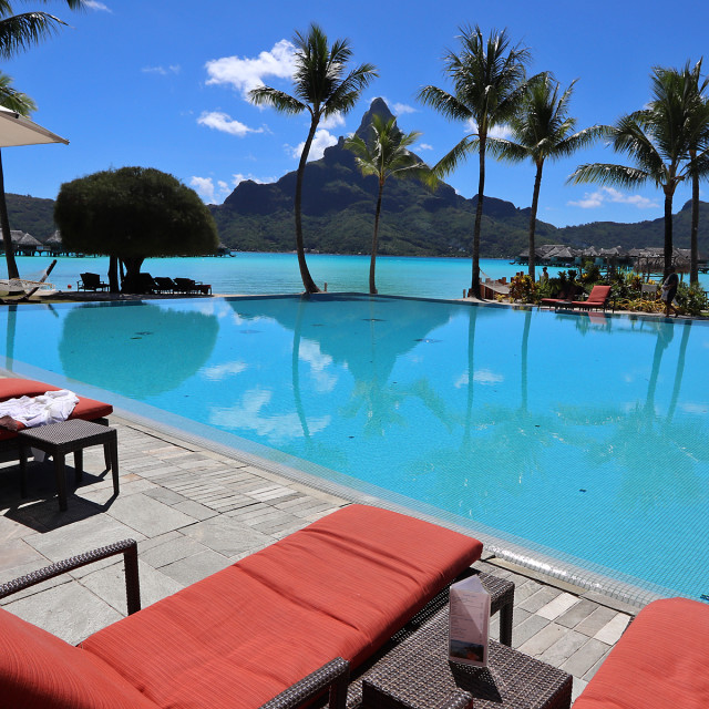 """Infinity pool, Bora-Bora"" stock image"