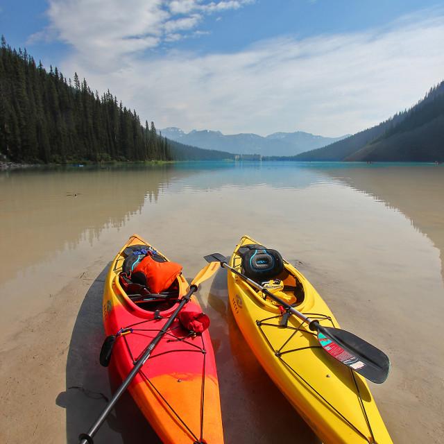 """""""Kayaks, Lake Louise, Banff national Park"""" stock image"""