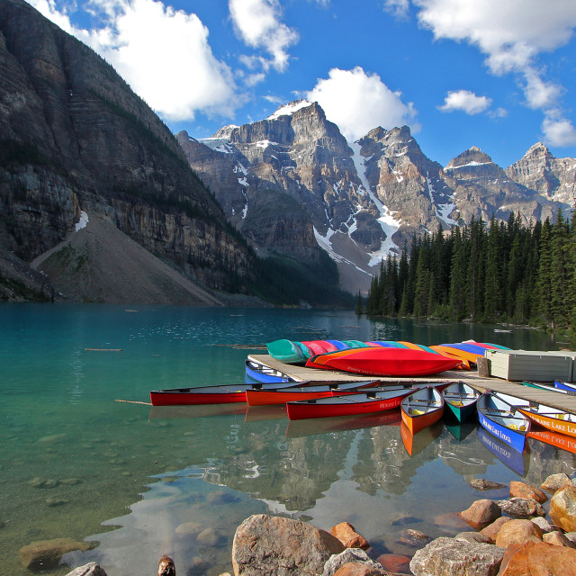 """Kayaks, Moraine lake, Banff national park"" stock image"
