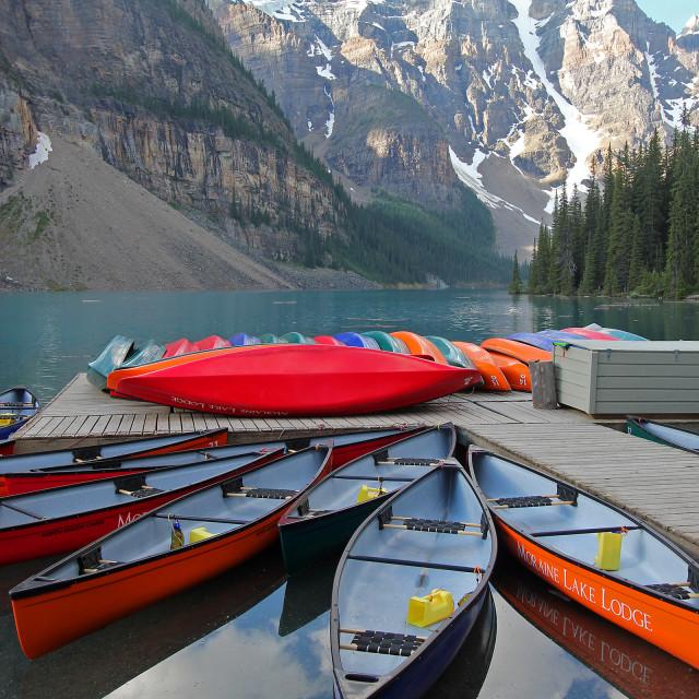 """Kayaks, Lake Moraine,Banff national Park"" stock image"