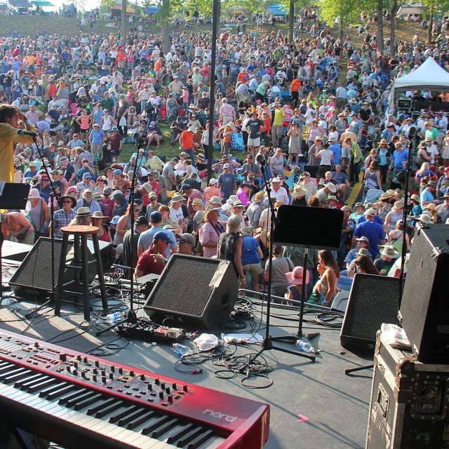 """Hillside album hour, Merlefest, North Carolina"" stock image"