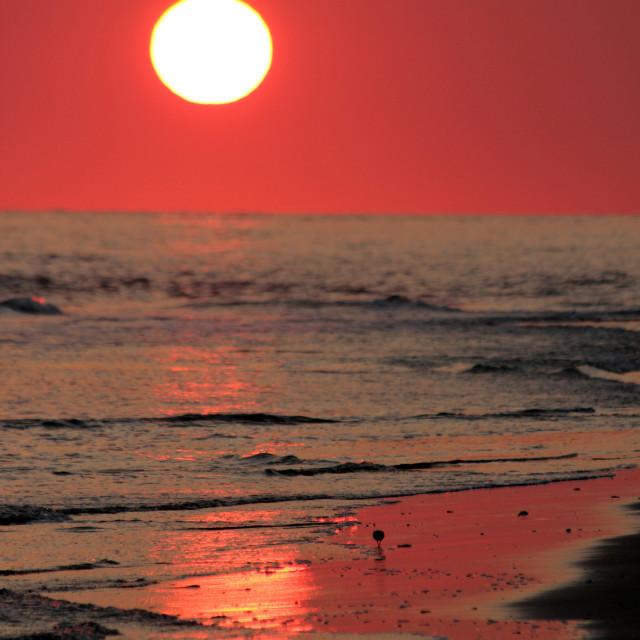 """Sunset, baldhead island, come and"" stock image"