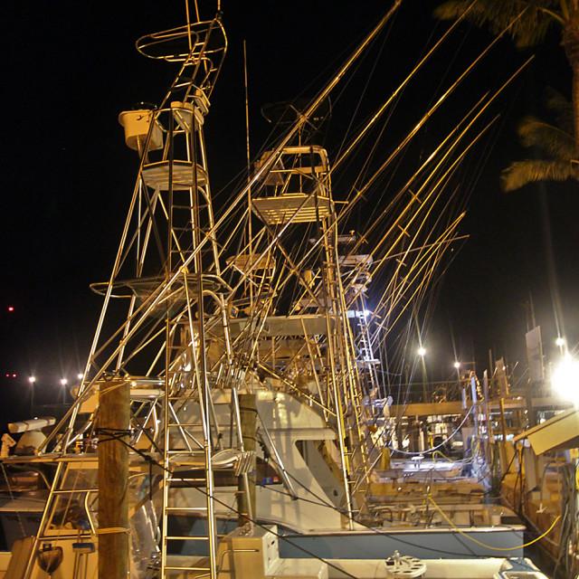 """""""Fishing boat at night, Islamorada, Florida"""" stock image"""