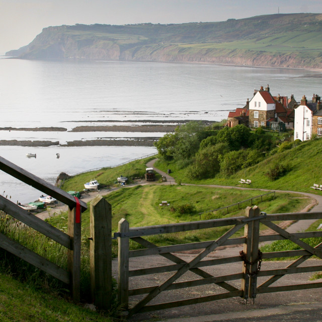 """""""Robin Hoods Bay, a Panoramic View from the top of Bay Bank."""" stock image"""