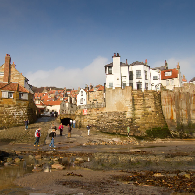 """""""Robin Hoods Bay, Yorkshire East Coast, England. A Panoramic View from the Beach with Ice Cream Van to the Foreground"""" stock image"""