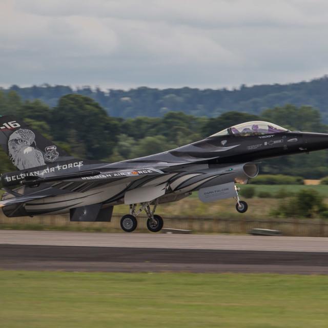 """""""the Belgian Airforce display F16 at RNAS Yeovilton."""" stock image"""