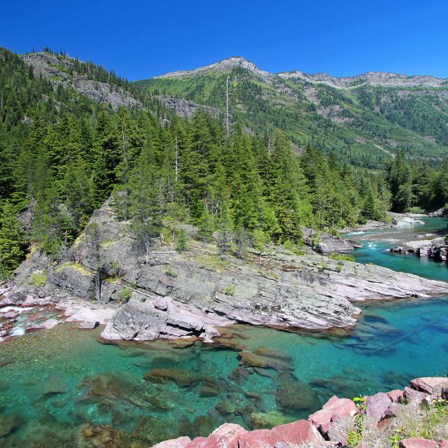 """McDonald Creek, glacier national Park, Montana"" stock image"