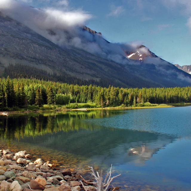 """Swift current lake, glacier national Park, Montana"" stock image"