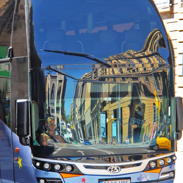 """Reflection, city bus"" stock image"