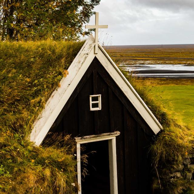 """Turf Church in historic Nupsstadur Farm, Iceland"" stock image"