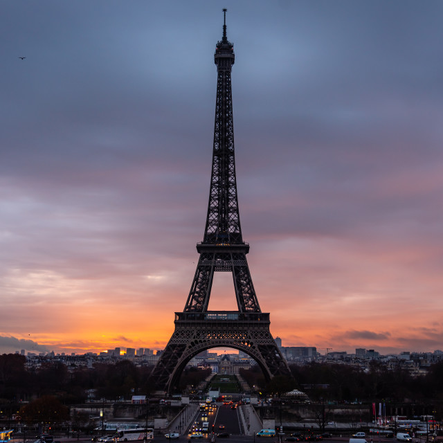 """""""The Eiffel Tower at dawn"""" stock image"""