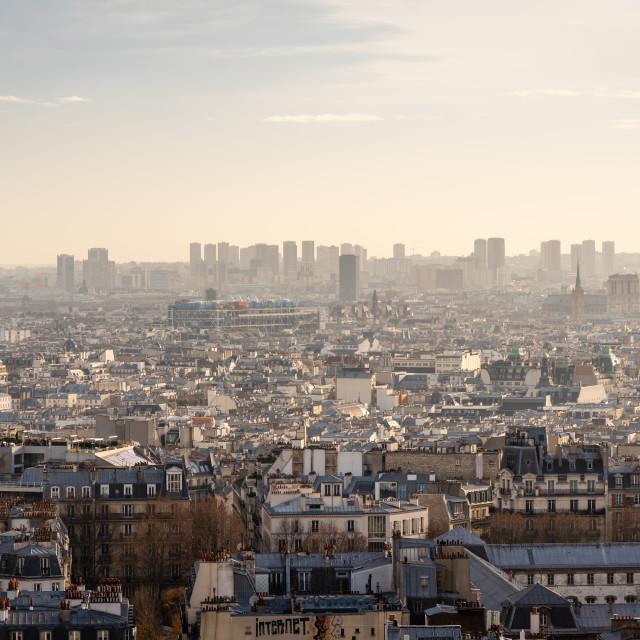 """The view of Paris from Sacre Coeur, Paris, France"" stock image"