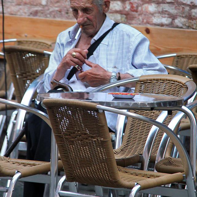 """Old man in Venice"" stock image"
