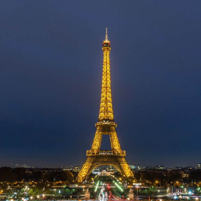 """Eiffel Tower at night, Paris, France"" stock image"