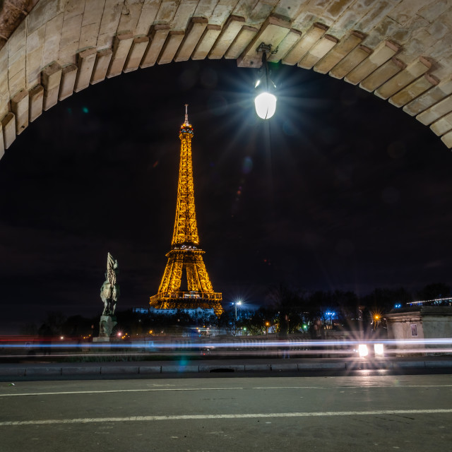 """Eiffel Tower at night, as seen from Bir Hakeim Bridge, Paris, France"" stock image"