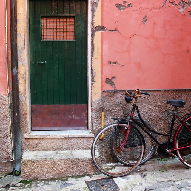 """Bicycles, Monterosso Al Mare"" stock image"