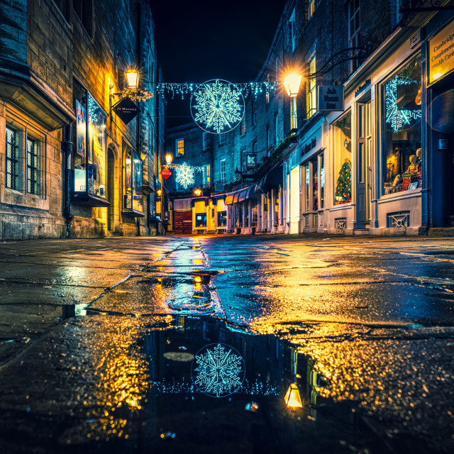 """""""Night reflections from Rose Crescent, Cambridge UK."""" stock image"""