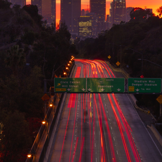 """""""Highway into LA at sunset"""" stock image"""