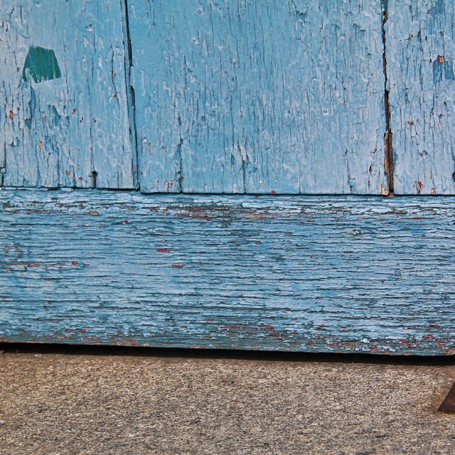 """""""Old door with the door stop"""" stock image"""