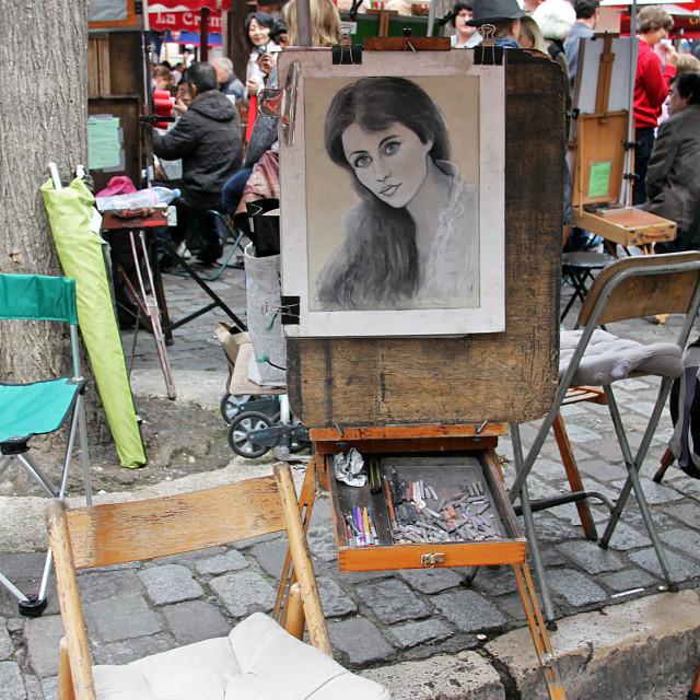 """""""Portrait, Montmartre, Paris"""" stock image"""