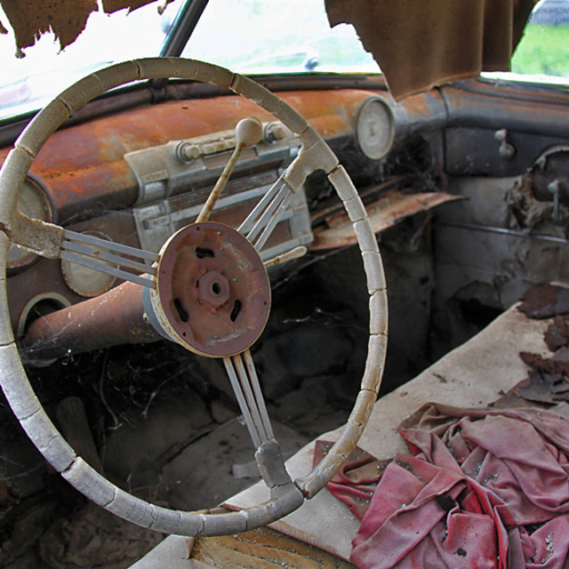 """Old car interior, central California"" stock image"