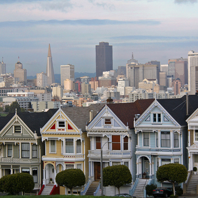 """Painted ladies, San Francisco, California"" stock image"