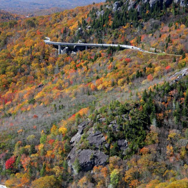 """Linn Cove viaduct from Tanawha Trail,Grandfather mountain"" stock image"