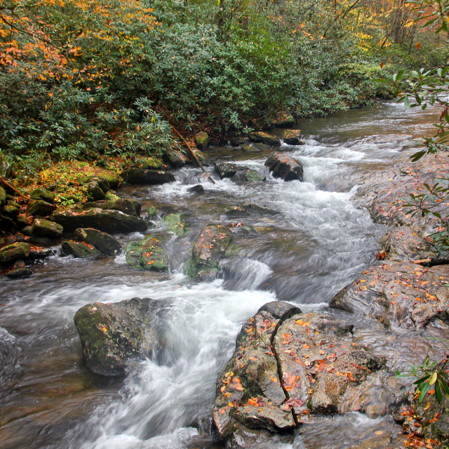 """High Shoals River,South Mountain State Park, North Carolina"" stock image"