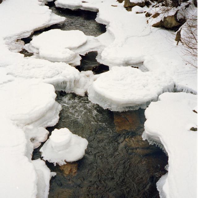 """Snowy Creek, grandfather mountain, North Carolina"" stock image"