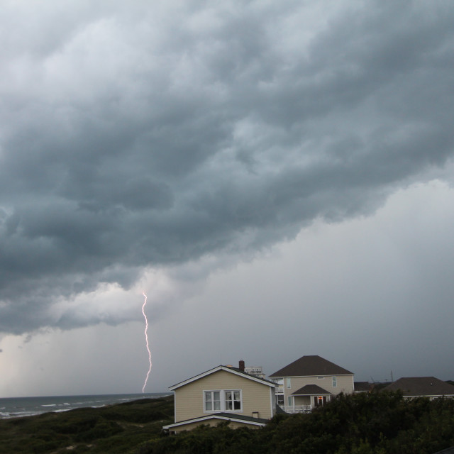 """Lightning storm, Salter Path, North Carolina"" stock image"