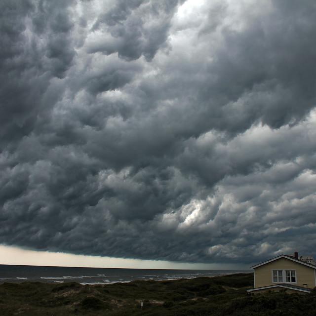 """Approaching storm, Salter Path North Carolina"" stock image"