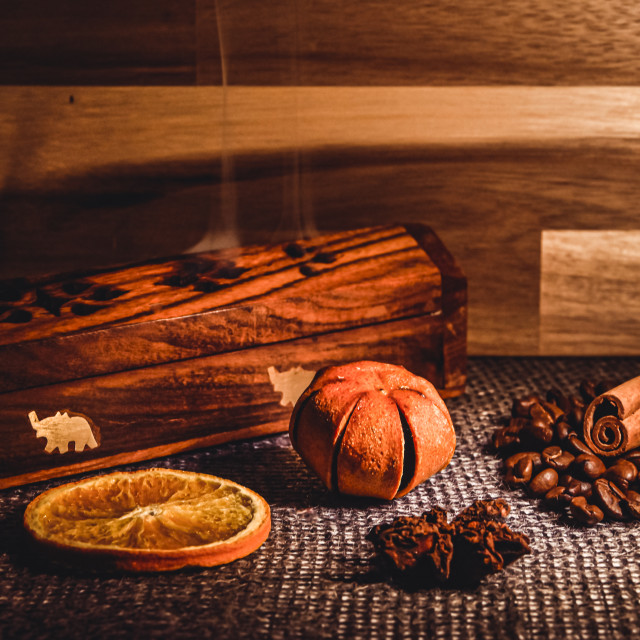 """""""Incense with coffee, a slice of orange, tangerine and cinnamon"""" stock image"""