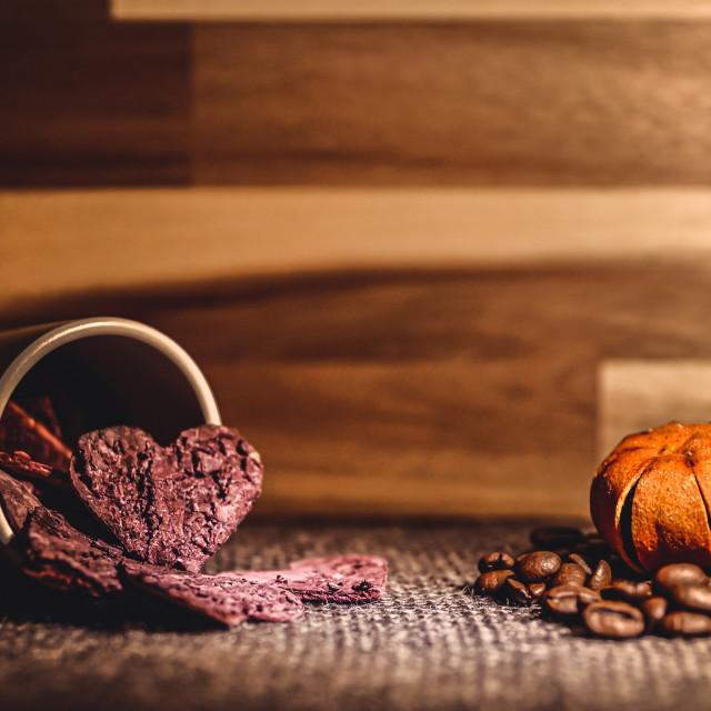 """Love for coffee (coffee - tangerine)"" stock image"
