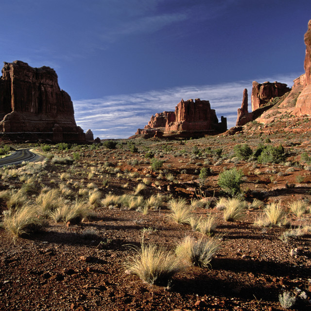 """Road to Devil's Garden, Arches national Park, Utah"" stock image"