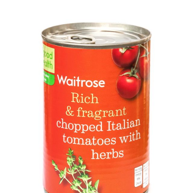 """Waitrose chopped Italian tomatoes with herbs"" stock image"