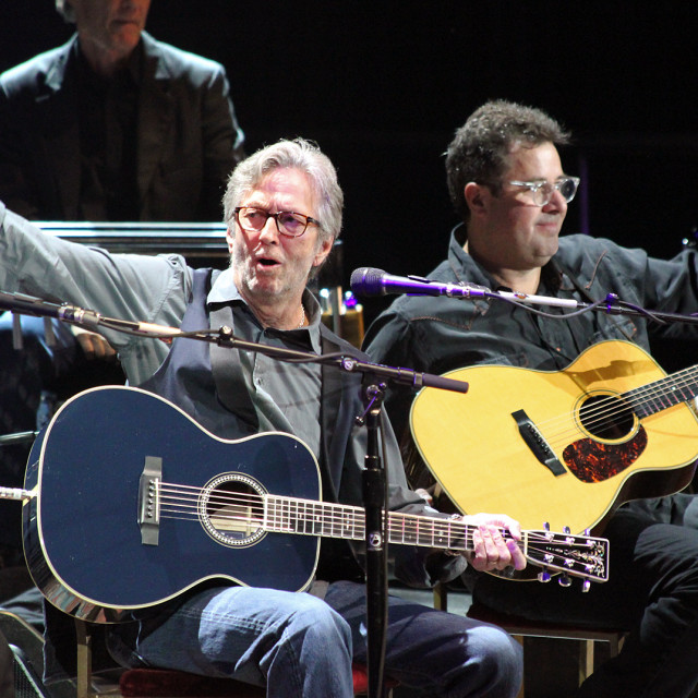 """""""Eric Clapton and Vince gill,2013 Crossroads Guitar Festival"""" stock image"""
