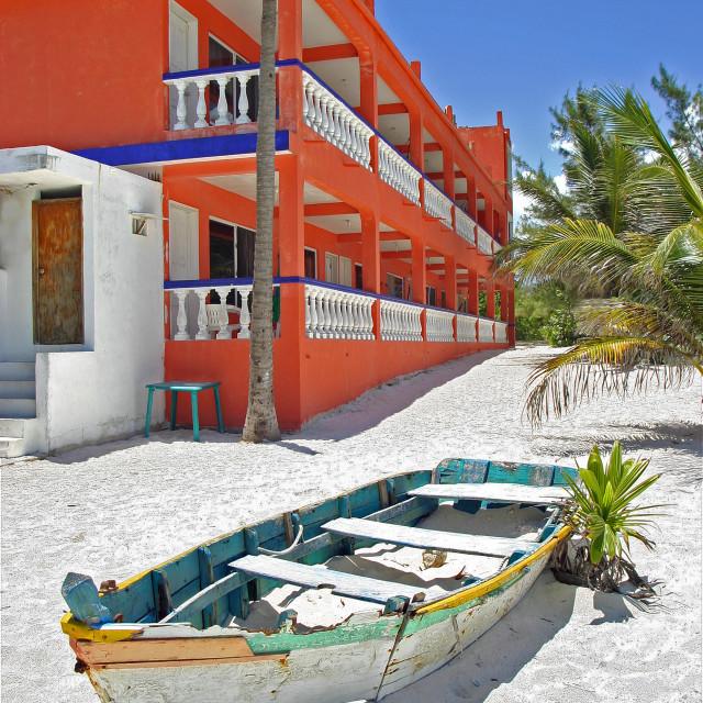 """Beach hotel, Akumal, Mexico"" stock image"
