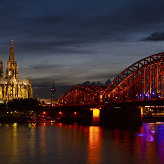 """""""Cologne Cathedral over the Rhine"""" stock image"""