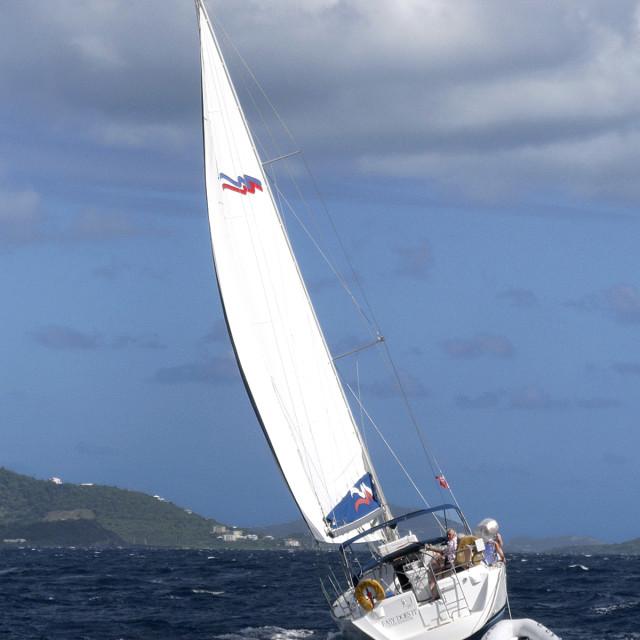 """Sailboat, Sir Francis Drake channel, British Virgin Islands"" stock image"