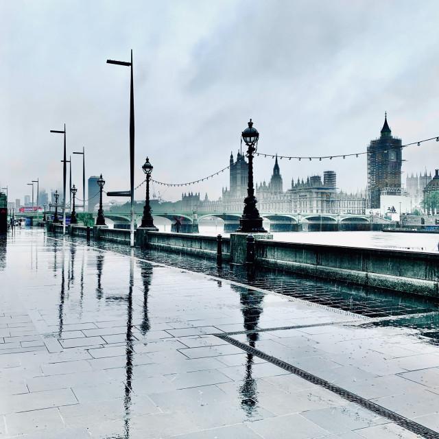 """Parliament in the Rain"" stock image"