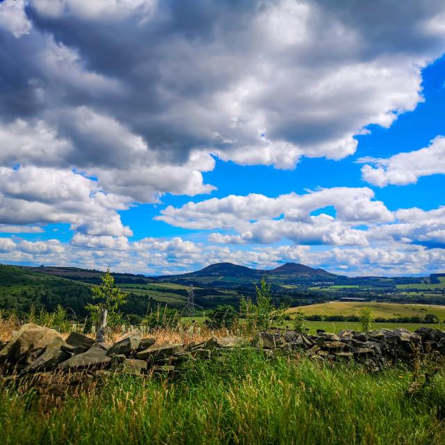 """The Eildon Hills"" stock image"