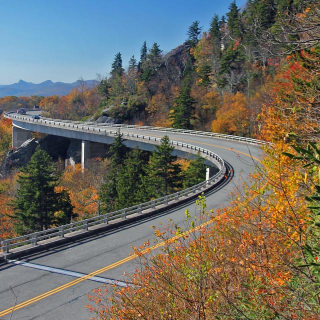 """Linn Cove Viaduct,Grandfather mountain, North Carolina"" stock image"