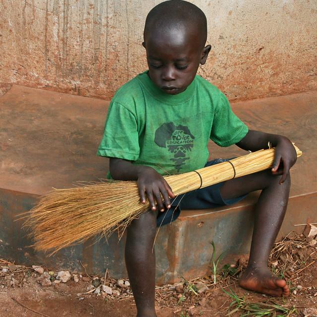 """""""Sad boy, Uganda"""" stock image"""